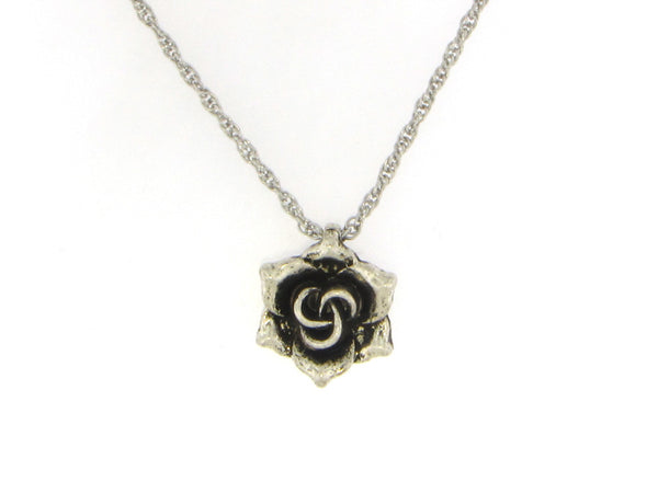 Antiqued Flower Pendant Necklace-A mom's Attic