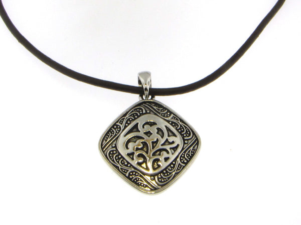 Antiqued Square Pendant with Leather Cord-A mom's Attic
