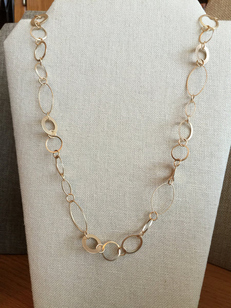 Circle And Oval Matte Gold Necklace