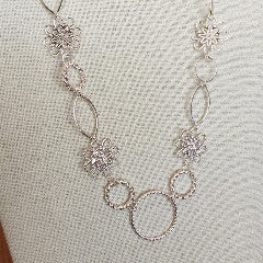 Necklaces - Filigree Silver And Hoops Necklace - Silver Plated