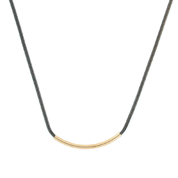 Necklaces - Gold Plated Curved Bar On Black Cord Necklace-A Mom's Attic