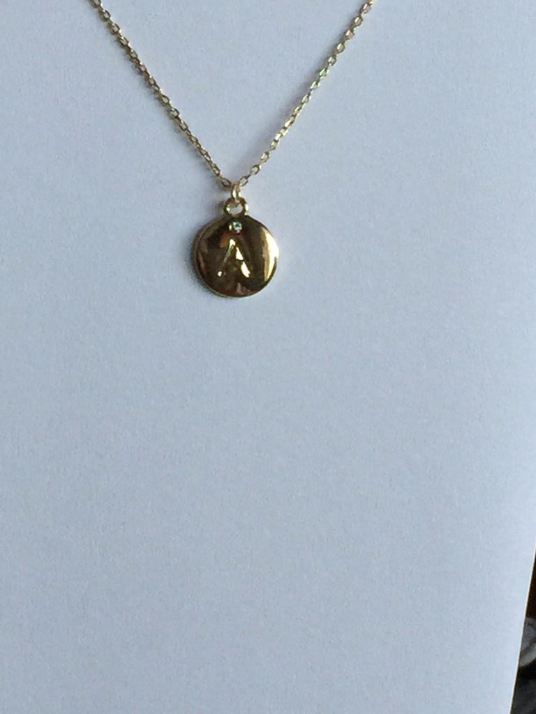 Necklaces - Gold Plated Engraved A-Z Initial Necklace-A Mom's Attic