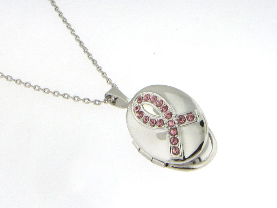 Necklaces - Pink Crystal Studded Breast Cancer Awareness Locket-A Mom's Attic