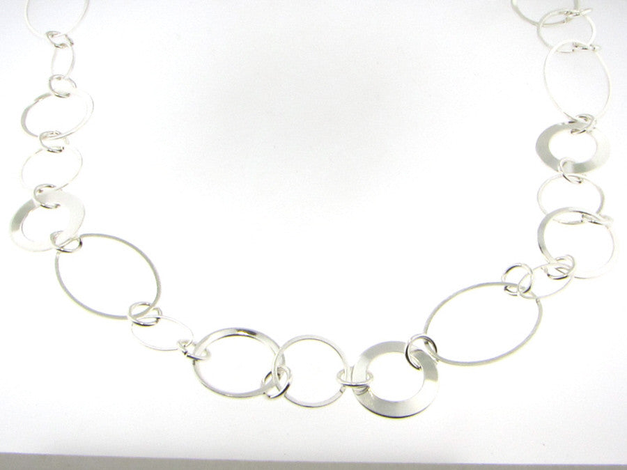Necklaces - Silver Plated Circle And Oval Link Necklace-A Mom's Attic