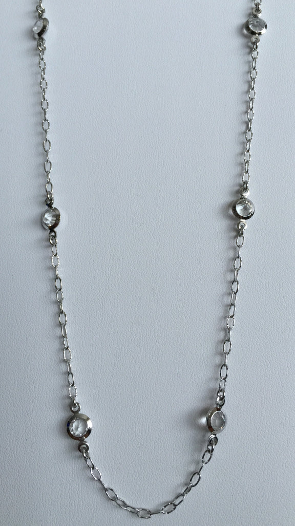 Necklaces - Silver Tone Open Link Chain W/ 6 CZ's Spaced