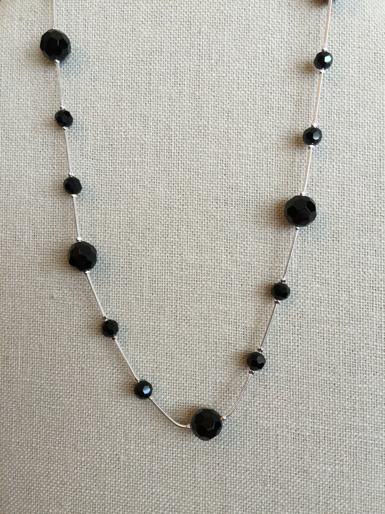 Necklaces - Silver W/ Spaced Black Crystal Necklace-A Mom's Attic