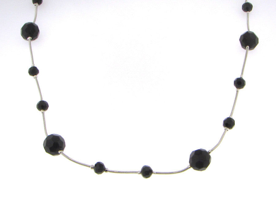 Necklaces - Silver W/ Spaced Black Crystal Necklace