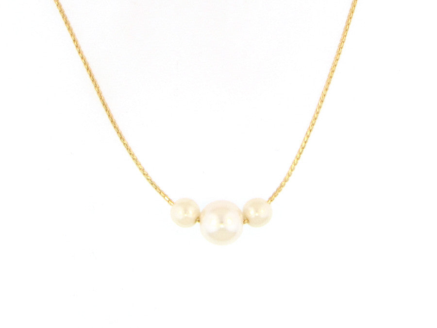 Necklaces - Triple Pearl Necklace