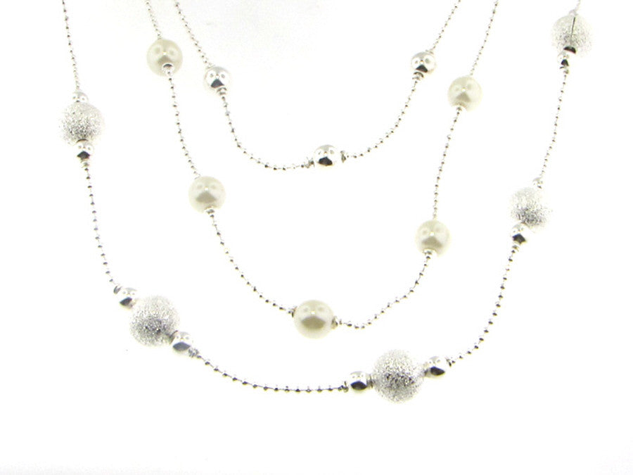 Necklaces - Triple Strand Glass Pearls And Silver Ball Necklace