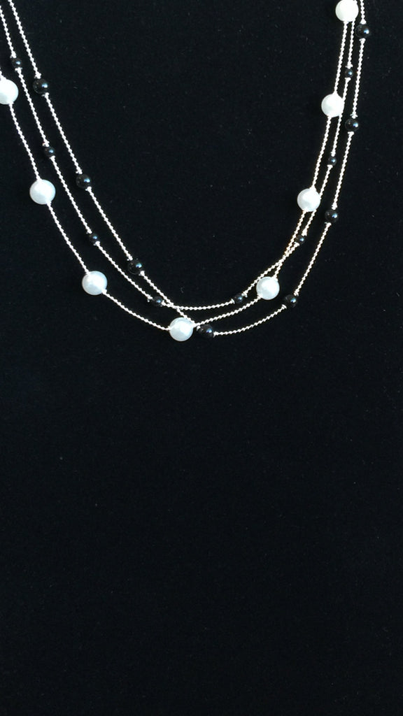 Necklaces - White And Black Pearl Three Strand Necklace