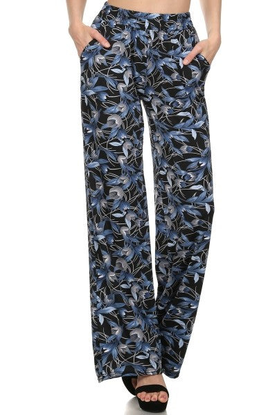 Palazzo Pants Abstract Leaf Print-A mom's Attic