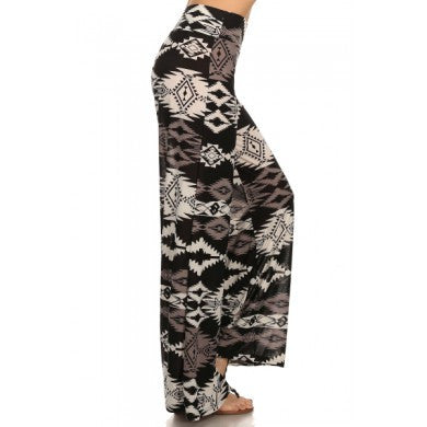 Palazzo Pants Clea Black Multi Print -A Mom's Attic