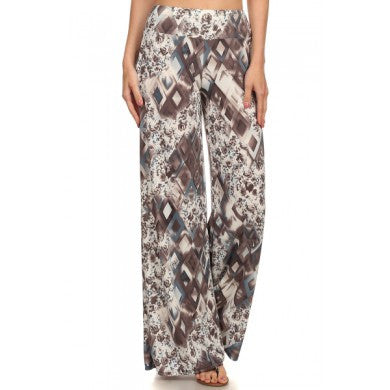 Palazzo Pants Multi Colored Print-A Mom's Attic