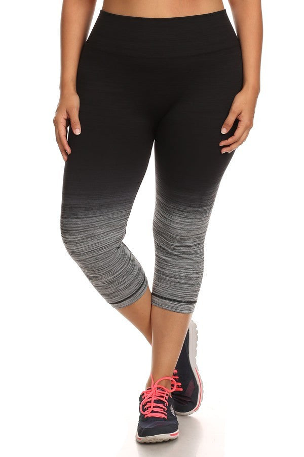Plus Size Activewear - Ombre Black And Charcoal Plus Size ShoSport Activewear Capris