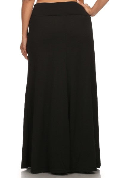 Plus Size Skirt - Solid Color Plus Size Maxi Skirt-A Mom's Attic