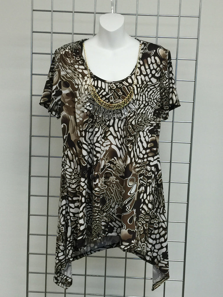 Brown and White Printed Women's Tunic-A mom's Attic