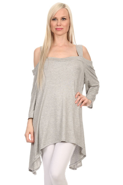 CANARI Cold Shoulder women's tunic tops-A mom's Attic