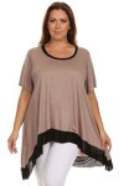 CANARI Mocha ~ Black Women's Plus Size Tunic Top-A mom's Attic