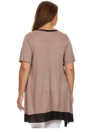 Plus Size Top - CANARI Mocha ~ Black Two Tone Women's Plus Size Tunic Top