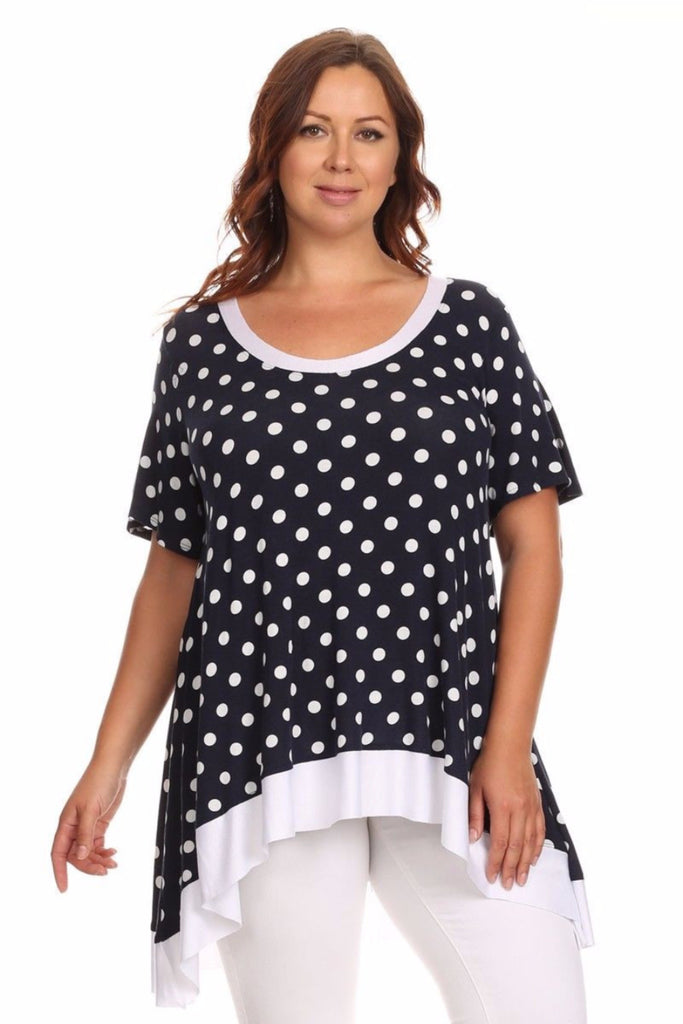 Plus Size Top - CANARI Navy Blue, White Polk A Dot Women's Plus Size Knit Top