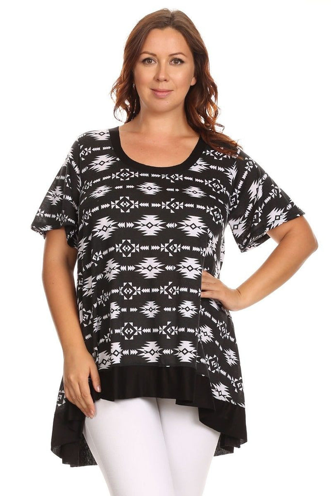 Canari White/Black Aztec Print Tunic Women's Plus Size-A mom's Attic