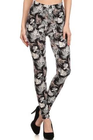 Leaf Print Leggings-A mom's Attic
