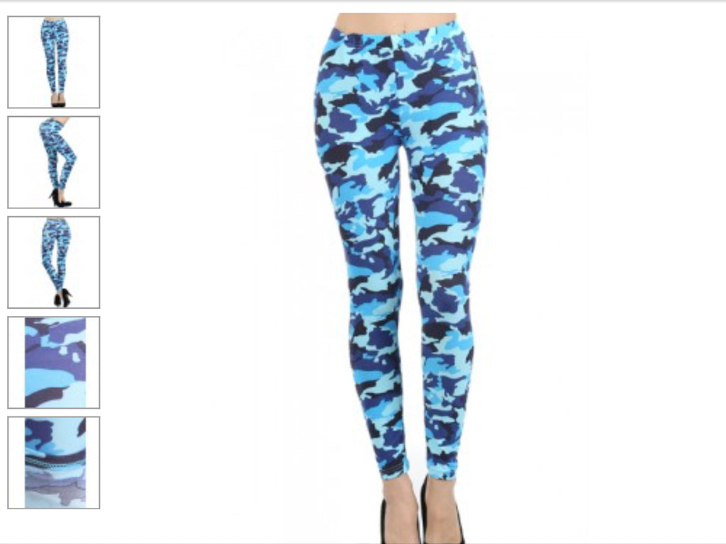 Blue Camouflage Print Leggings-A mom's Attic