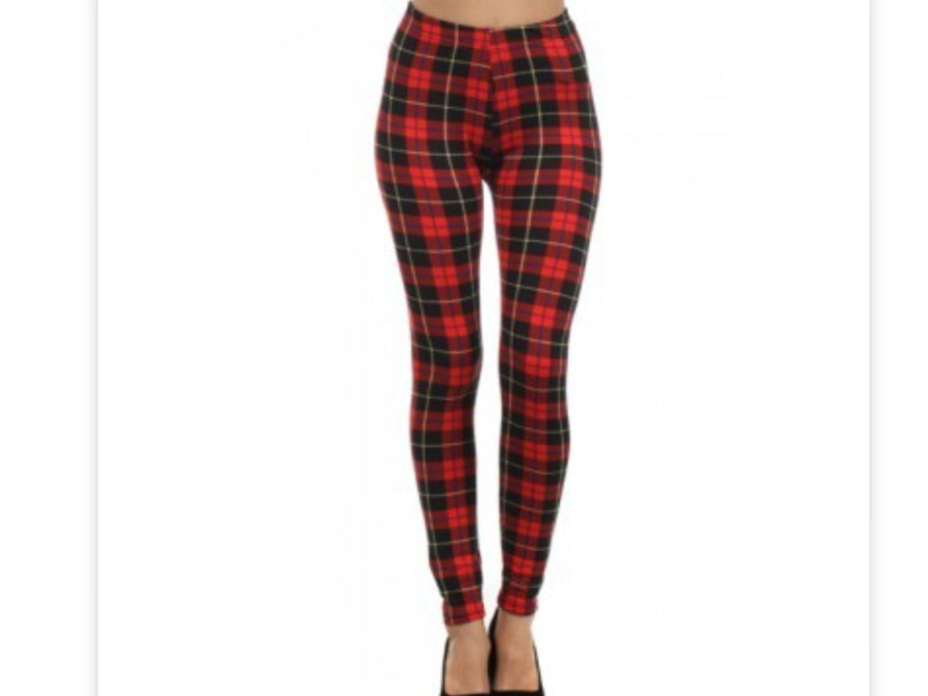 Print Leggings - Red & Black Plaid Fleece Leggings