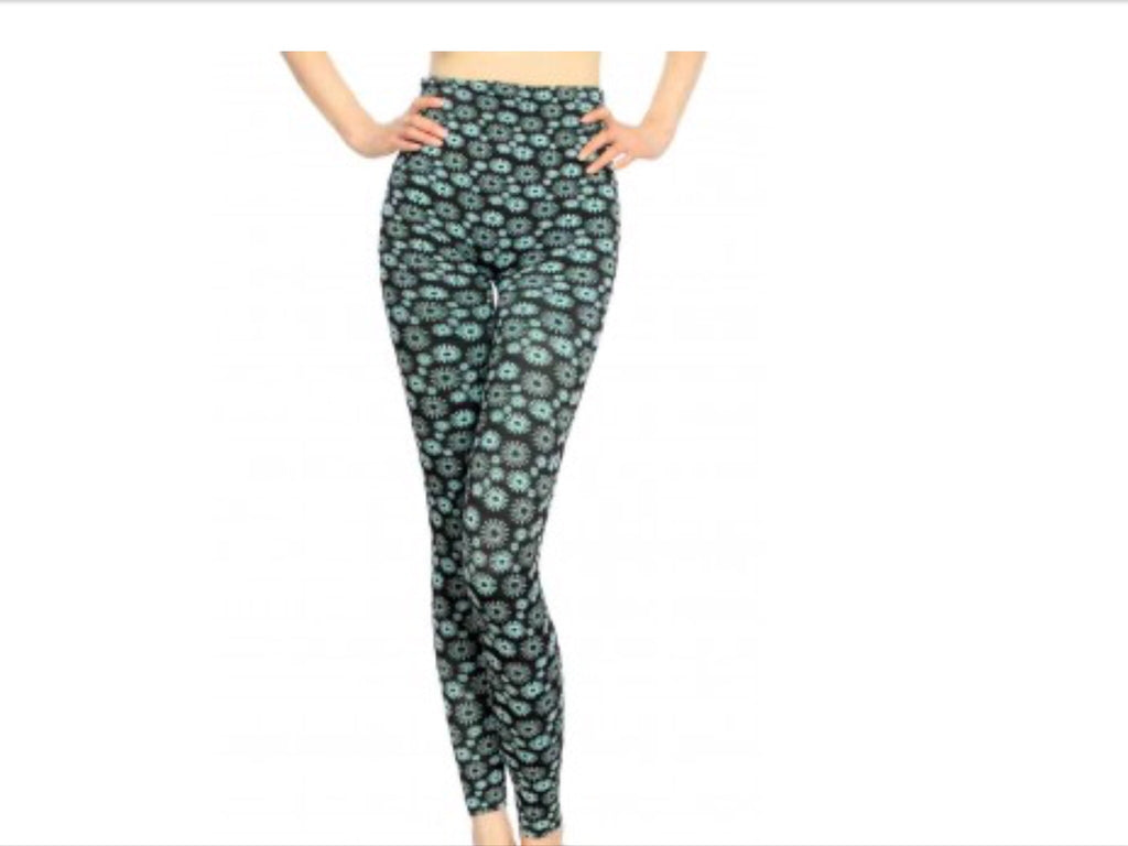 Print Leggings - Sun Flower Seamless Leggings-A Mom's Attic