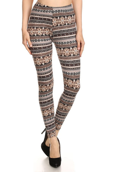 Print Leggings - Wallpaper Bohemian Print Leggings