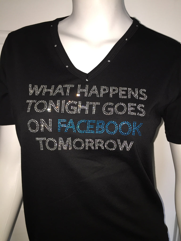 Rhinstone Tops - Happens Tonight Facebook Tomorrow Rhinestone Black T-Shirt-A Mom's Attic