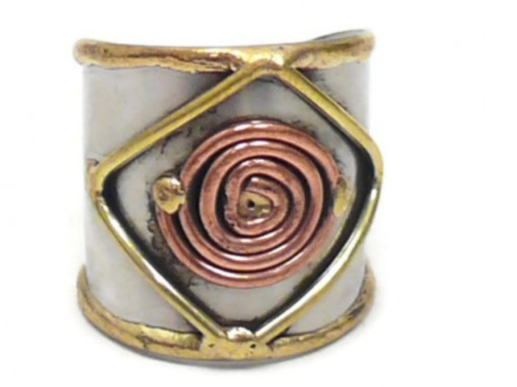 Rings - Ornate Mixed Metal Cuff Ring-A Mom's Attic