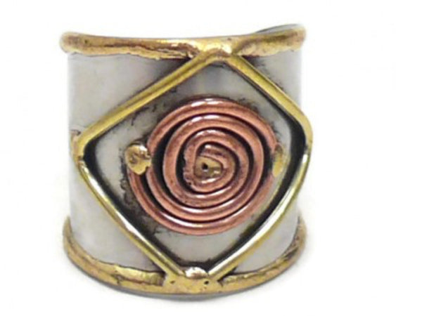 Rings - Ornate Mixed Metal Cuff Ring