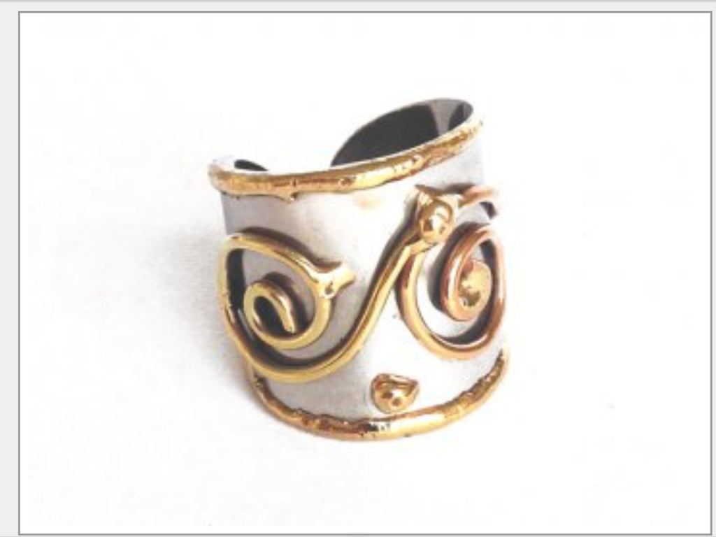 Rings - Spiral Mixed Metal Cuff Ring