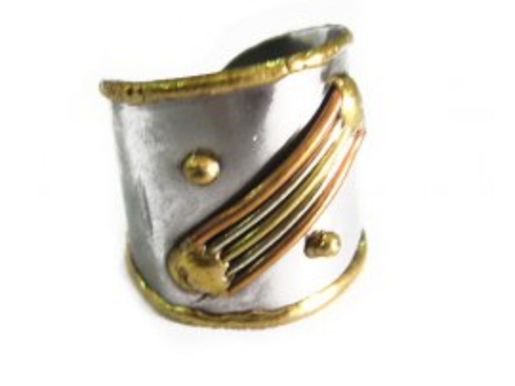 Rings - Tri Color Lines Cuff Ring