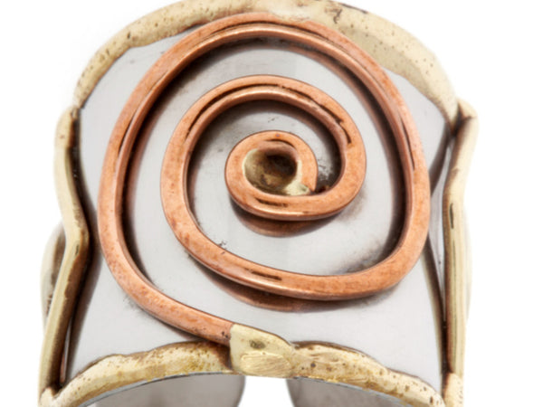 Rings - Tri Tone Large Spiral Cuff Ring