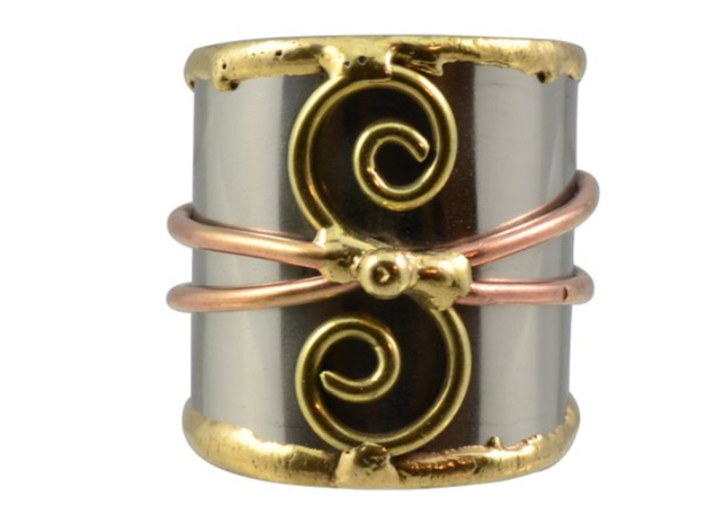 Rings - Two Spiral Mixed Metal Cuff Ring