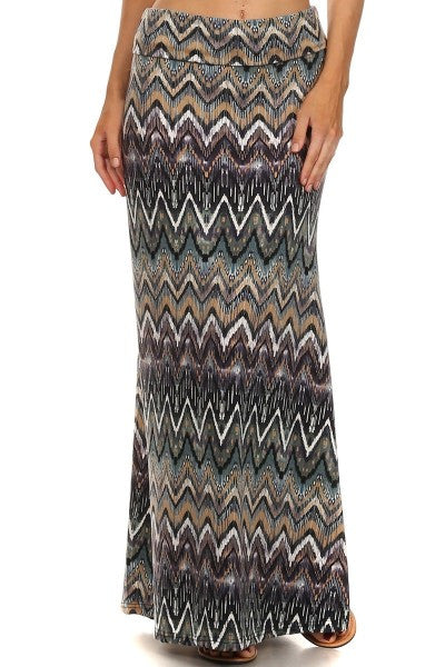 Skirts - Zig Zag Multi Colored Print Maxi Skirt