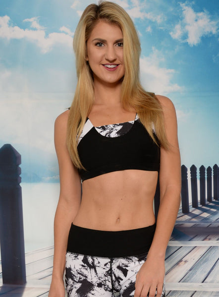 Sports Bra - Ana Zabella Black And White Gash Stripes Sports Bra