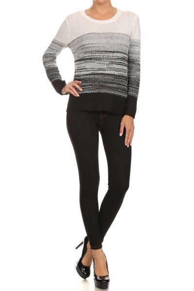 Black Knit Ombre Sweater-A mom's Attic