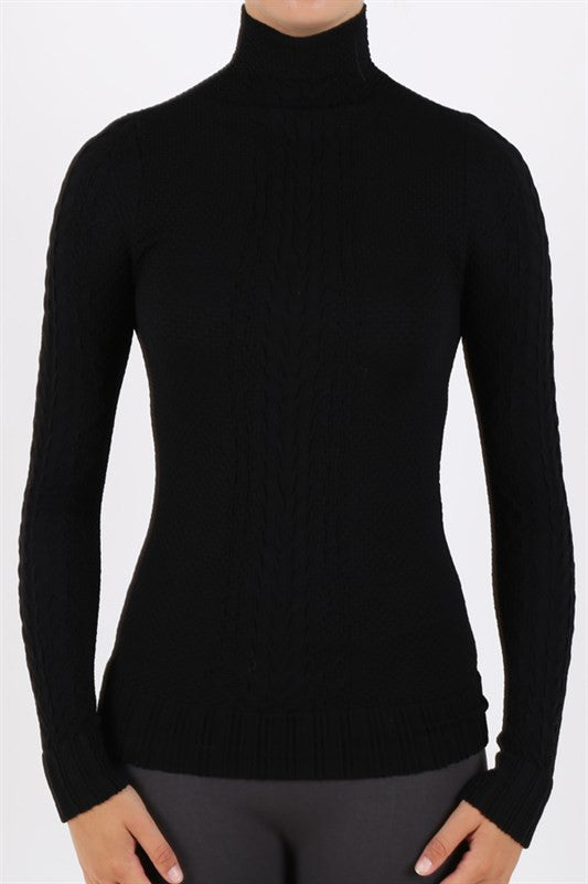 Sweater - Turtle Neck Textured Lightweight Stretch Long Sleeve Sweater