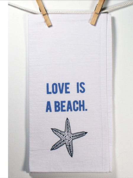 "Towels - Honestly Flour Sack Kitchen / Bar Towel - ""Love Is A Beach""-A Mom's Attic"