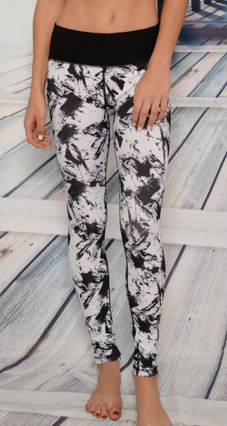 Yoga Wear - Ana Zabella Black And White Splatter Yoga Pants