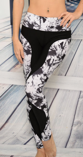 Yoga Wear - Ana Zabella Black With Black And White Splatter Side Panel Yoga Pants