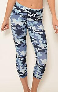Yoga Wear - Ana Zabella Blue Camo Workout Capri Pants