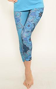 Yoga Wear - Ana Zabella Blue Floral Capri Yoga Pants