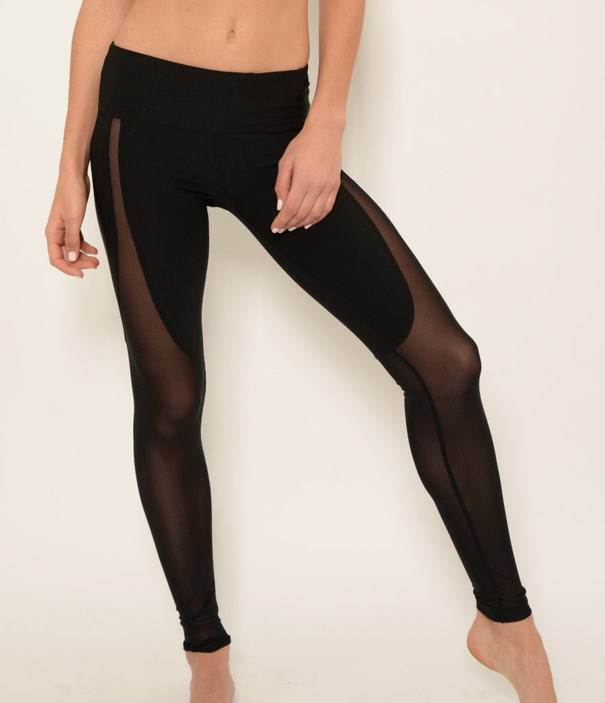Yoga Wear - Ana Zabella Cut Out Black Mesh Active Pants.