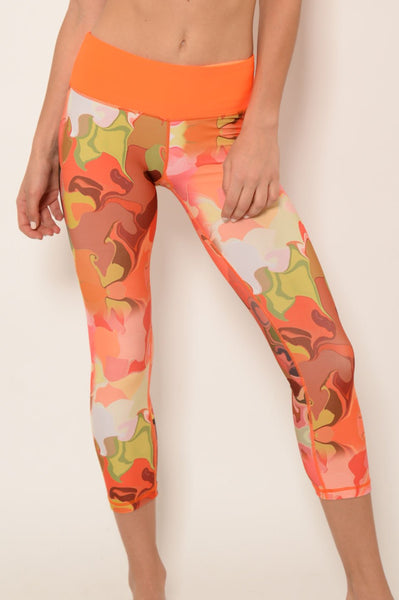 Yoga Wear - Ana Zabella Orange Floral Contras Workout Capris