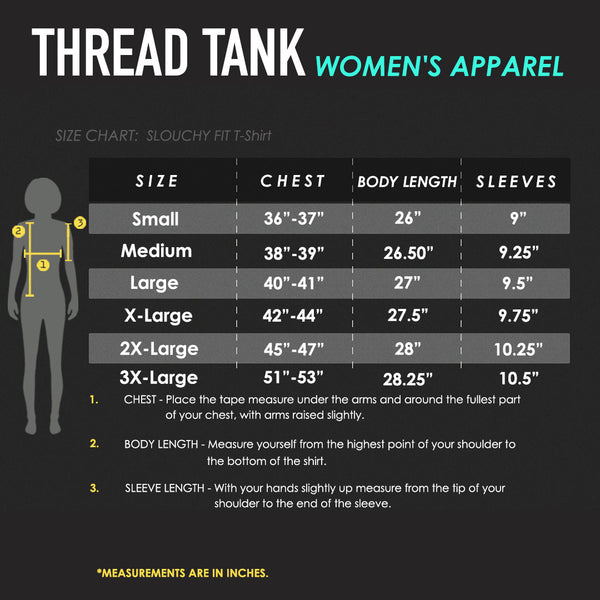 Women's Slouchy Tee Size Chart