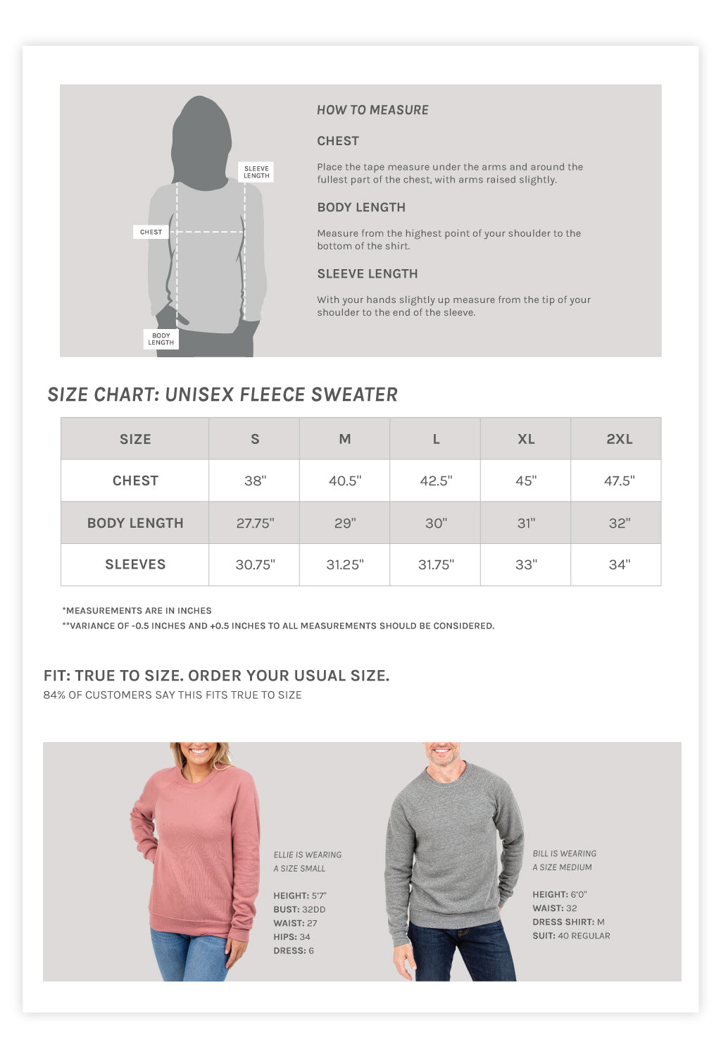 Unisex Fleece Sweater Size Chart